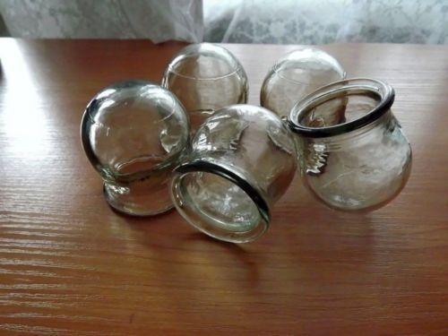 Chinesische Massage-Therapie. SET 5 GLASS MASSAGE CUPS. Schröpfen JARS, UdSSR