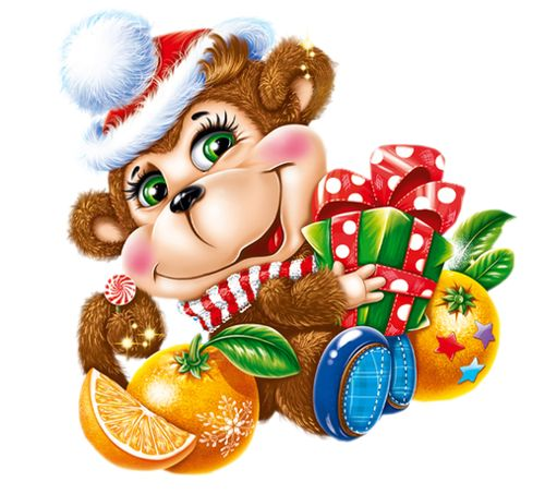 Новогодняя обезьянка открытки
