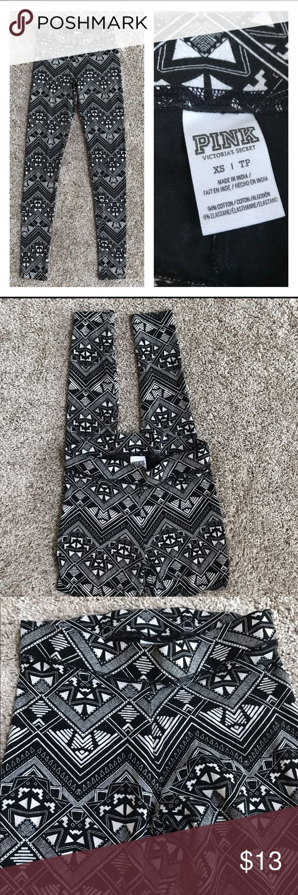 "Victoria's Secret PINK Tribal Print Leggings Victoria's Secret PINK B/W Print Pattern Leggings size XS. Excellent condition.  12"" across waist and 27"" inseam. PINK Victoria's Secret Pants Leggings"