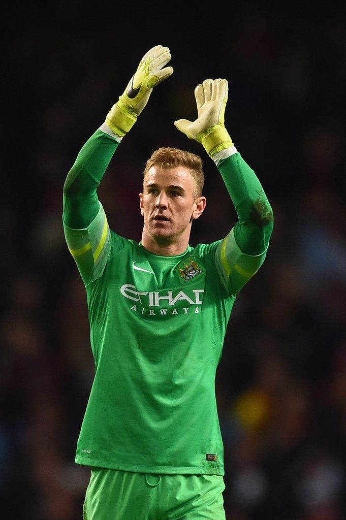 Joe Hart of Manchester City waves to the fans after the UEFA Champions League Round of 16 match between Manchester City and Barcelona at Etihad Stadium on February 24, 2015 in Manchester, United Kingdom.