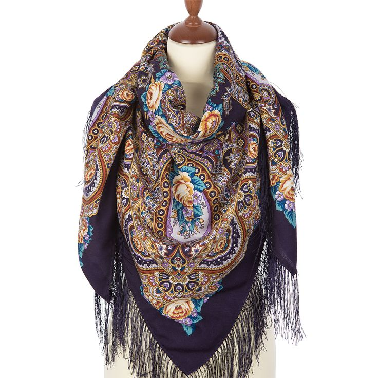 Russian shawl and scarf store. Russian shawl Russian expanse 1619-15. Traditional Russian clothing from Pavlovo Posad. Free shipping worldwide.