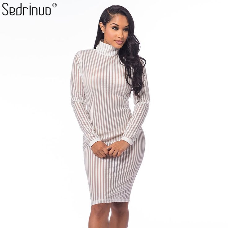 Aliexpress.com : Buy Sedrinuo Kardashian Autumn Fashion Long Sleeve Sexy Bodycon Party White Dress Striped Mesh Turtleneck Women Clothing Club Dress from Reliable dress weight suppliers on Dress Designer