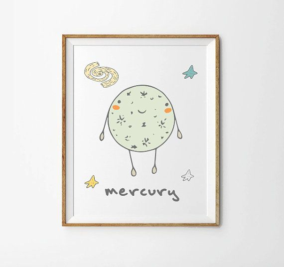 Mercury Planet Print 5 x 7 in 8 x 10 in Space by ShikaPrintsShop
