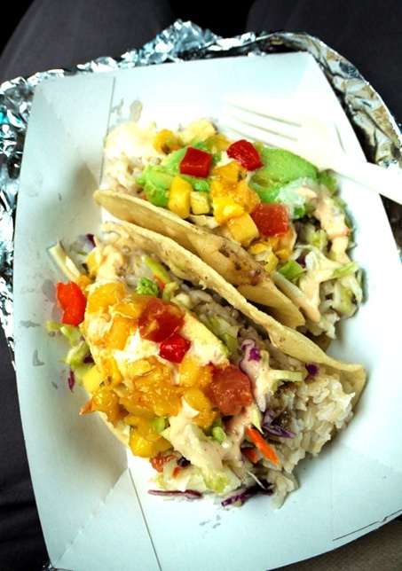 vegetarian tacos with coconut rice, coleslaw and mango salsa
