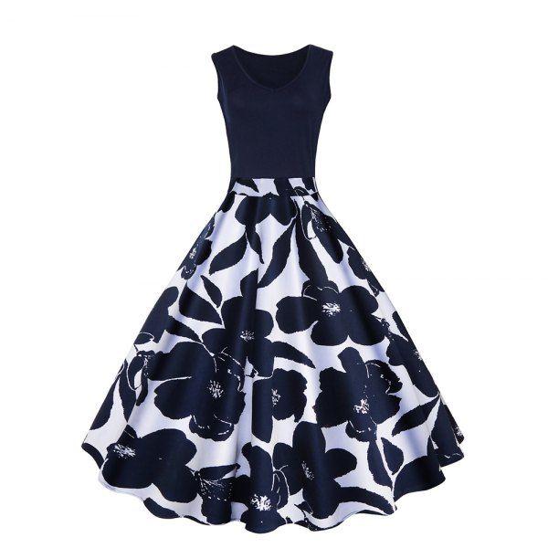 Women's V-Neck Printing Hepburn Large Size Dress - Cadetblue L Mobile