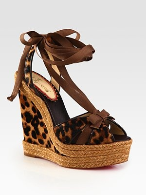 Want. Need. Have. To. Have!  Love my Louboutin!  {Christian Louboutin - Leopard Print Calf Hair Bow Espadrille Wedges - Saks.com}