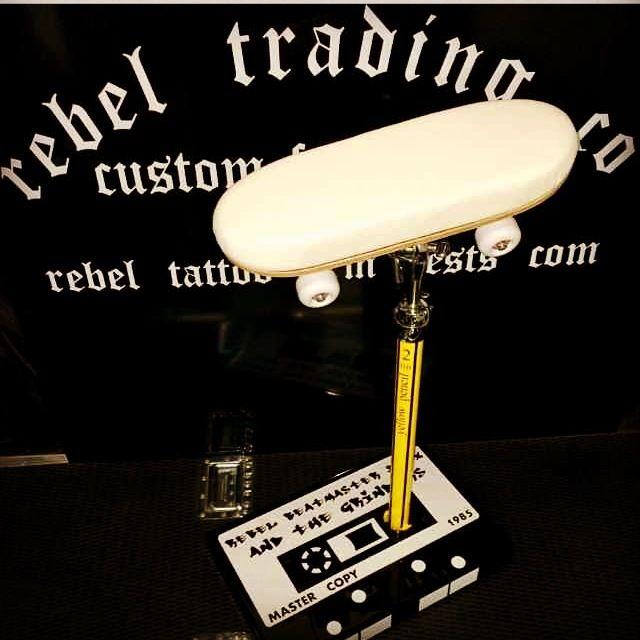 retro old skool inspired designed custom tattoo arm rest by Rebel Trading Company UK Ltd