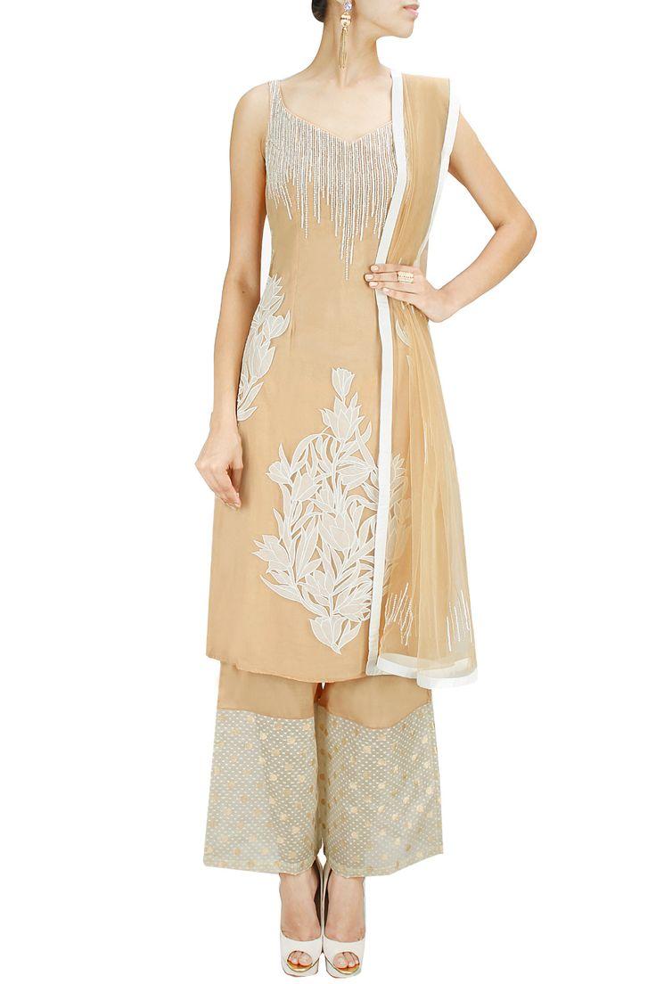 Beige patchwork and sequins embellished kurta with palazzos. BY SHEHLA KHAN. Shop now at: www.perniaspopups... #perniaspopupshop #designer #stunning #fashion #style #beautiful #happyshopping #love #updates