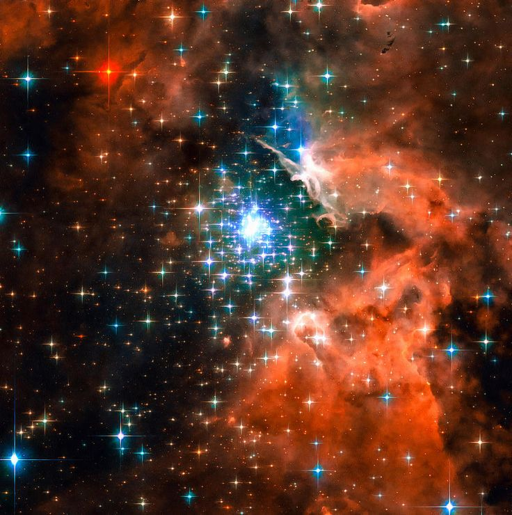 Space image: Star cluster orange blue and black colors. The star-forming region NGC 3603 - seen here in the latest Hubble Space Telescope image - contains one of the most impressive massive young star clusters in the Milky Way. Carefully enhanced picture (with a special artistic treatment), looks like a realistic painting, the colors are more vibrant than in the original photo. Looks amazing as large print or poster! Image credit for the original picture: NASA, ESA and the Hubble Heritage