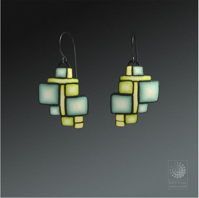 Bettina Welker, Art Deco earrings. Tutorial available on craftartedu.com