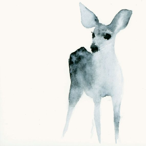 Dog Art Print from Original Watercolor Snow by dearcatherina