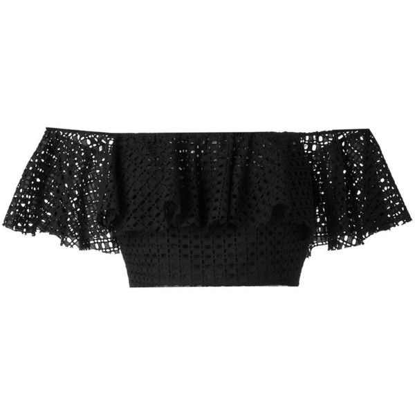 Philosophy Di Lorenzo Serafini ruffled off-shoulders cropped top (£290) ❤ liked on Polyvore featuring tops, black, off the shoulder frill top, flounce crop top, off shoulder crop top, off-the-shoulder ruffle tops and frill crop top