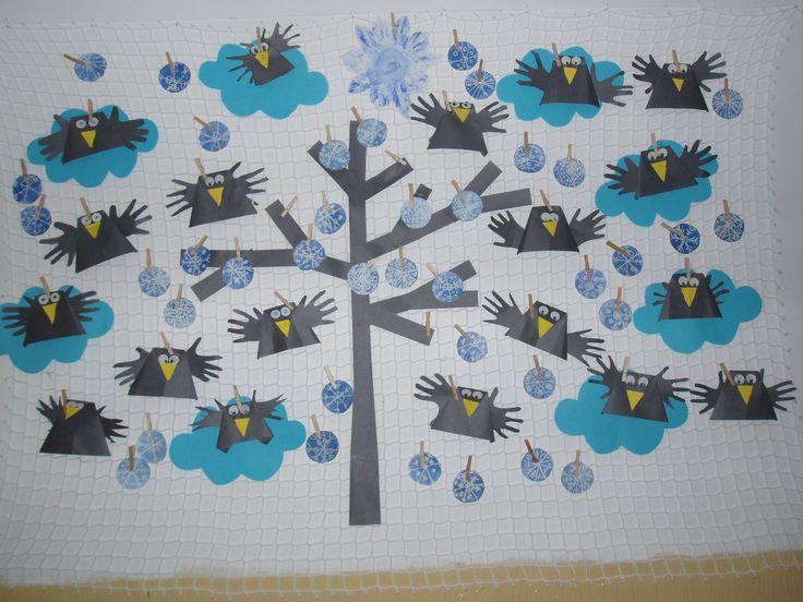 Sněhové vločky inkoust - zmizík, skládané vrány