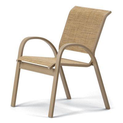Telescope Casual Aruba Ii Stacking Patio Dining Chair (Set of 4) Finish: Textured Beachwood, Fabric: Atlantis