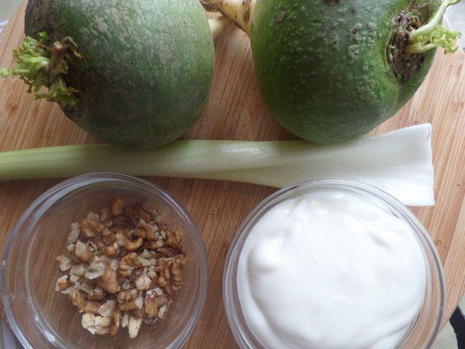 Рецепт на выходные: Салат из зелёной редьки с орехами
