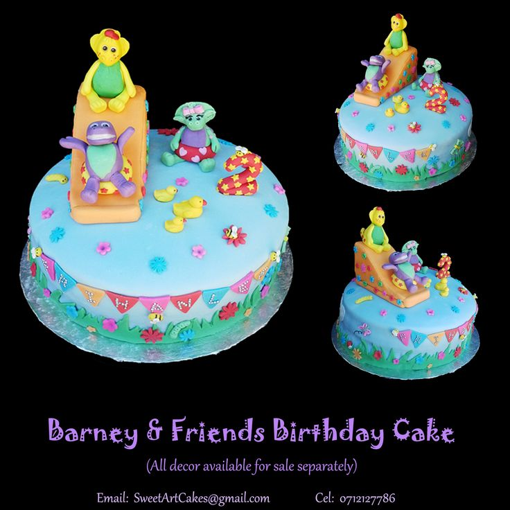 BARNEY & FRIENDS CAKE Decor available for sale separately.  Delivery nationwide.  For more information & orders email SweetArtBfn@gmail.com or call 0712127786