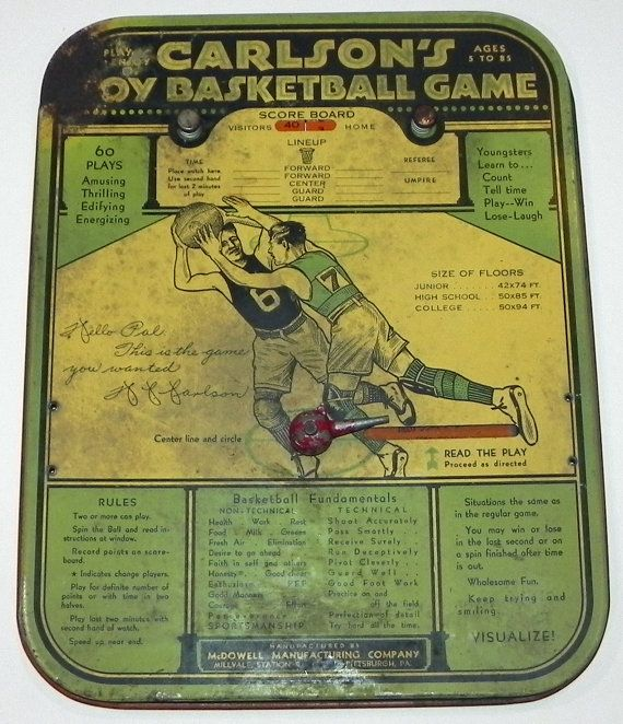 "1920's Pitt's ""Doc"" Carlson's Tin Toy Basketball Game - Antique University of Pittsburgh. $250"