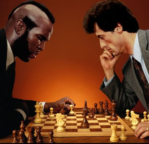 Mr T vs Rambo playing the Hollywood Gambit. Chess at the Movies.