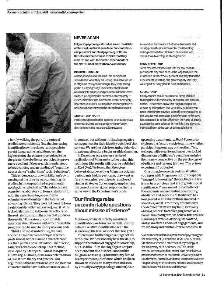 Just obeying orders page 4  New Scientist, 13 September 2014
