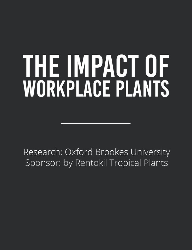 The Impact of Workplace Plants     CONTENT    Research conducted by Oxford Brookes University  Sponsored by Rentokil Tropical Plants     Introduction   Study Findings   Detailed Notes for Slides   Summary of Results   Conclusions   The Future of Interior Planting    PDF