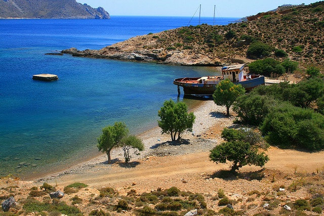 Shipwreck on the beach, Leros