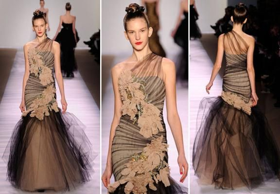 Stunning one-shoulder gown with sheer black tulle and floral applique by Monique Lhuillier