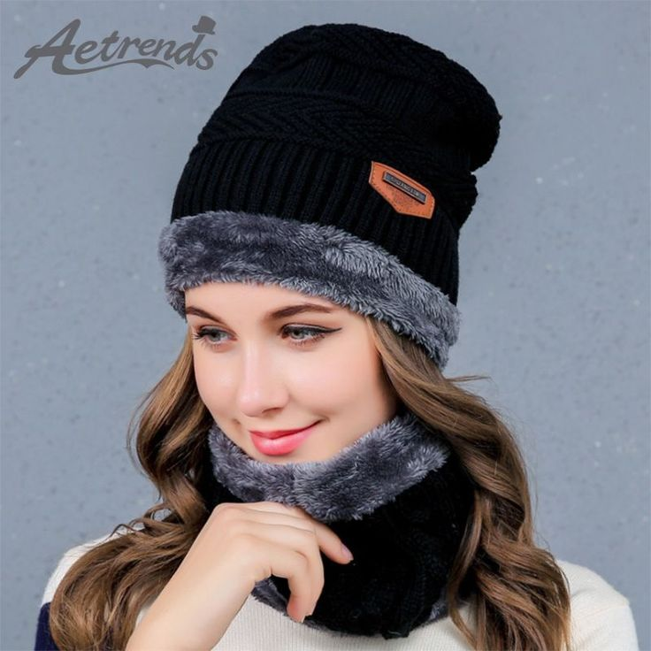 2017 Winter Scarf Hats for Women or Men Knitted Beanie Hats with Fur Collar Scarves Caps Beanies Z-6055 #HatsForWomenFashionable