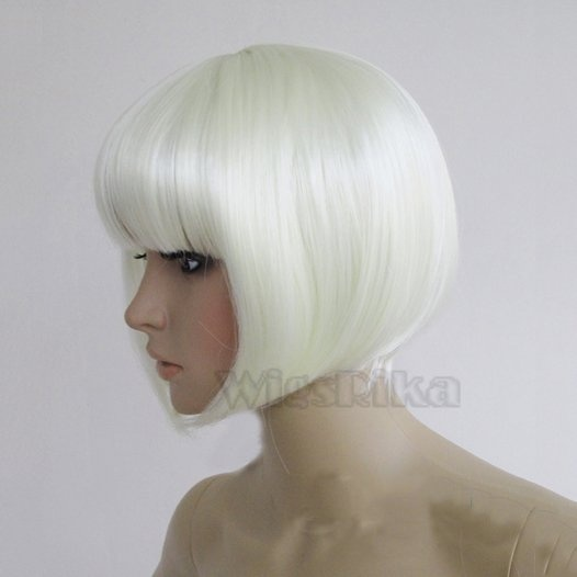 Snow white bob wig straight short wig with blunt cut full bangs