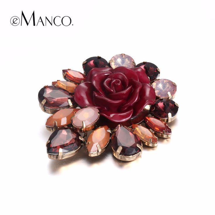 eManco 3 Color Stylish Romantic Rose Flower Brooches Pins for Women Crystal Resin Fashion Jewelry & Clothing Accessories