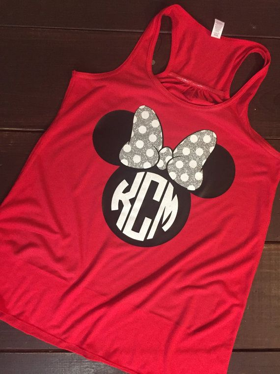 Minnie Monogram Tank - Racerback Tank - More Cors Available