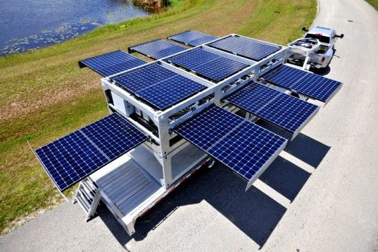 Ecos PowerCube, portable solar power station, Ecosphere Technologies, shipping containers, solar power, humanitarian aid, water filtration, off the grid, disaster relief, Jean-Michel Cousteau, renewable energy, green technology