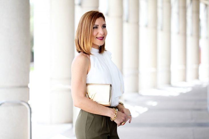 Blame it on Mei Miami Fashion Blogger 2016 Olive Green Trousers White Blouse with Bow Gold LV Clutch Leopard Sandals Valentino Rockstud