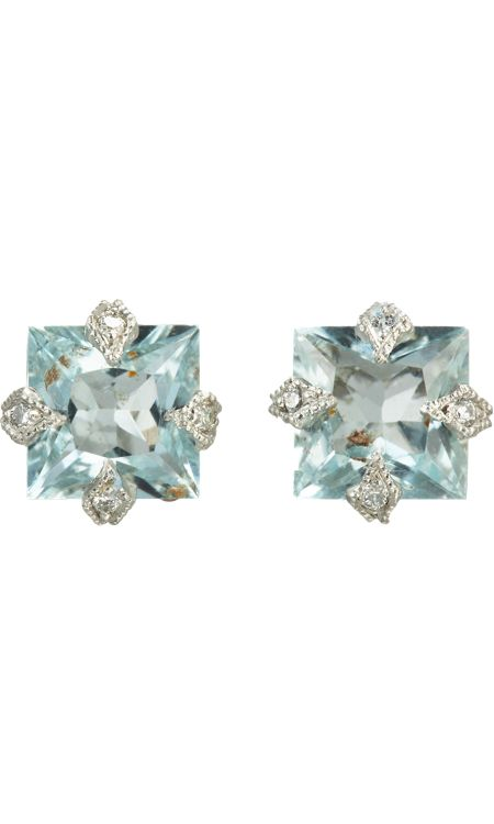 Cathy Waterman Diamond & Aquamarine Stud Earrings $2320 but aren't they worth every penny?
