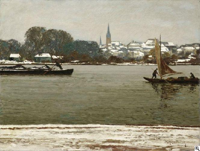 Max Clarenbach (1880 Neuss - 1952 Wittlaer/ Düsseldorf)  Emmerich am Rhein. Blick vom gegenüber liegenden Ufer auf die verschneite Stadt Signiert unten links: M. Clarenbach. Öl auf Leinwand. 60,5 x 80cm.