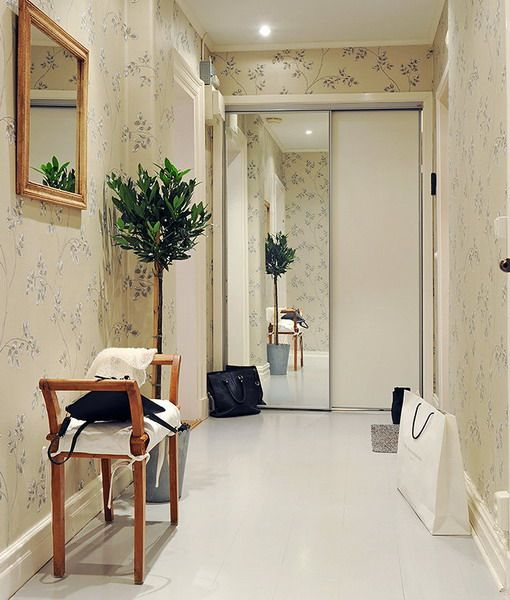 Decorating Ideas And Wall Design In The Hallway Of Your: Furniture, Sliding Door With Mirror Narrow Hallway Design
