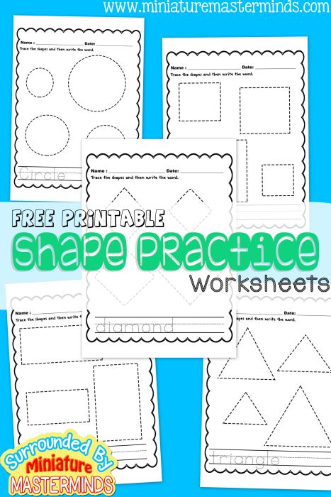 These free printable worksheets are all about different shapes and gives students the ability to be able to practice tracing and drawing different shapes.   Rebecca. (2015). Free Printable Shape Practice Worksheets. Retrieved from http://www.miniaturemasterminds.com/2015/07/27/free-printable-shape-practice-worksheets/
