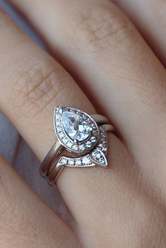 Forever One Moissanite Pear Engagement In 2020 Pear Shaped Diamond Engagement Rings Wedding Rings Vintage Pear Engagement Ring