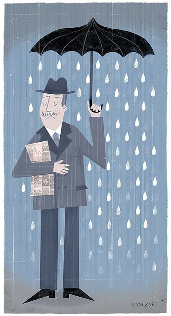 """ON HIS WAY HOME FROM THE OFFICE…..SO GLAD HE HAD HIS UMBRELLA TODAY……(OH! BY THE WAY, HIS WIFE TOLD HIM THIS MORNING: """"SILVESTER, TAKE YOUR UMBRELLA -- IT'S GONNA RAIN (!!)"""")"""