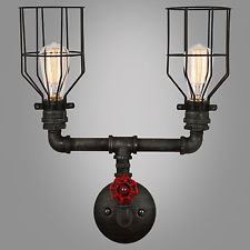 Industrial Rustic Vintage DUAL CAGE HEAD Wall Pipe Lamp Retro Light  Sconce