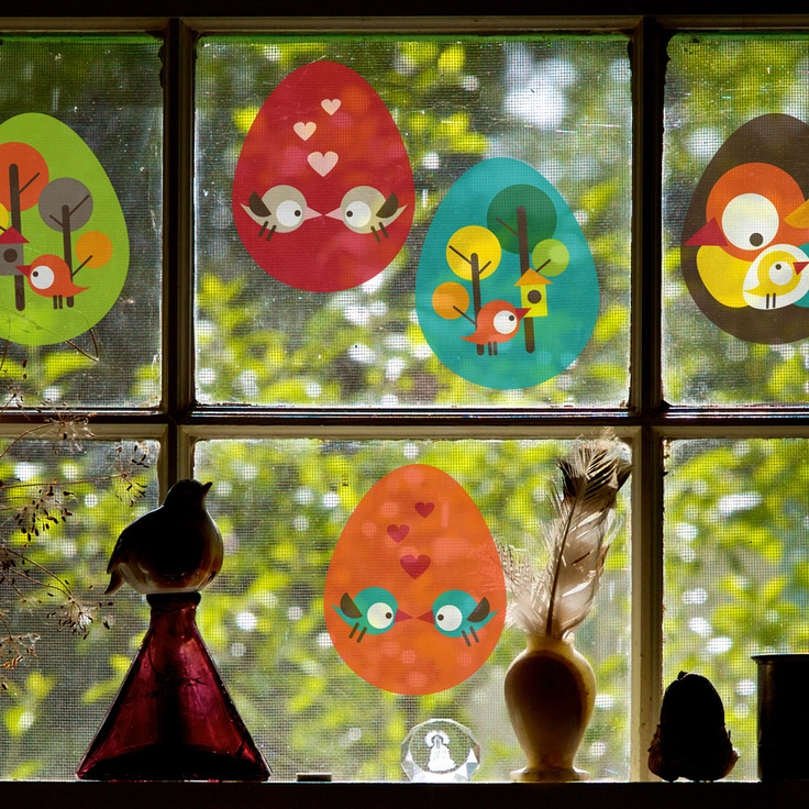 Easter eggs - removable window decals, design by lepeeto