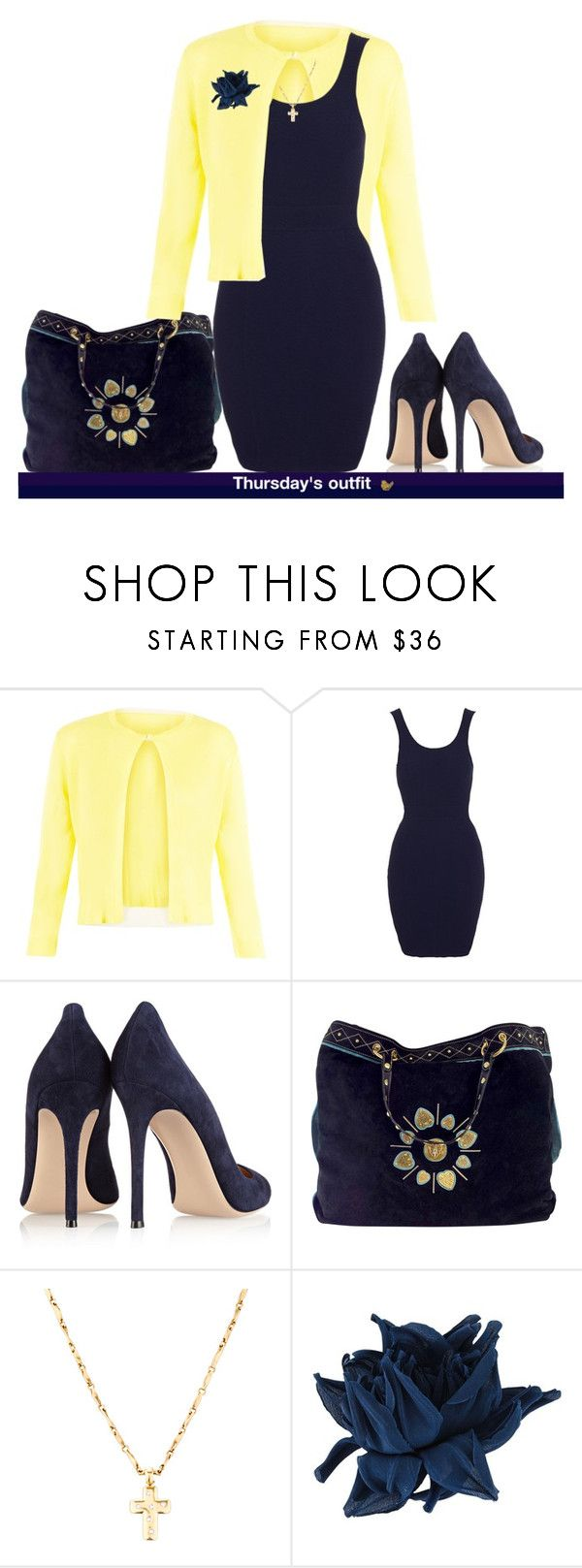 """""""Thursday's outfit."""" by cardigurl ❤ liked on Polyvore featuring Damsel in a Dress, Gianvito Rossi, Gucci, Erika Cavallini Semi-Couture and Judith Leiber"""