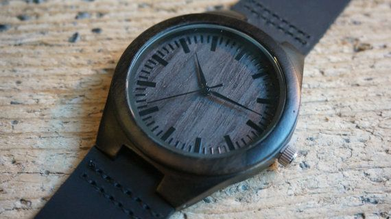Wooden Watch / black sandal wood Wristwatch  by CreativeUseofTech