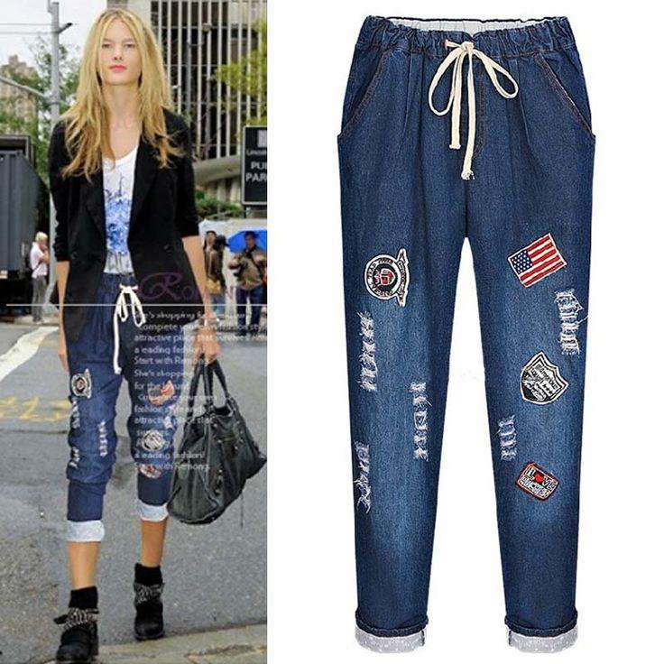 2016 Mid Waist Jeans Woman Skinny Pencil Pants Slim Denim Jeans For Women Elastic Harem Jeans Trousers With Hole Plus Size 5XL