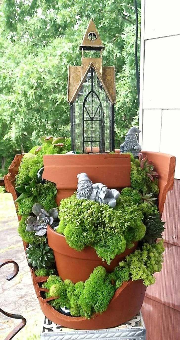 25 broken pots that you can turn into beautiful fairy gardens