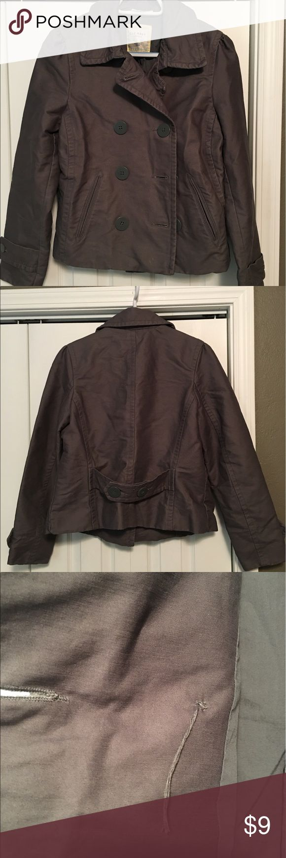 Old Navy Pea Coat Old Navy dark grey pea coat. Fit is similar to a jean jacket. Hits at high hip. Very Cute. Great condition other than missing the anchor button on the inside of jacket as shown in picture. Old Navy Jackets & Coats Pea Coats
