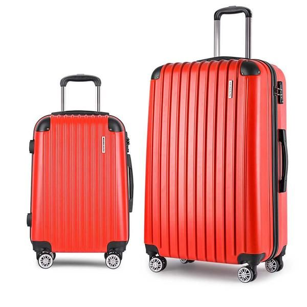 Set of 2 Hard Shell Travel Luggage with TSA Lock - Red – Click Online Sales