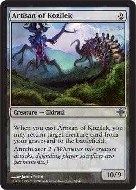 Magic: the Gathering - Artisan of Kozilek - Rise of the Eldrazi by Wizards of the Coast. $1.60. This is of Uncommon rarity.. A single individual card from the Magic: the Gathering (MTG) trading and collectible card game (TCG/CCG).. From the Rise of the Eldrazi set.. Magic: the Gathering is a collectible card game created by Richard Garfield. In Magic, you play the role of a planeswalker who fights other planeswalkers for glory, knowledge, and conquest. Your deck o...