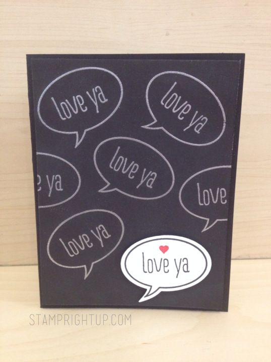 Stampin Up Just Sayin Love Ya word bubble card for masculine Valentine's Day card by Wendie Bee of Stamp Right Up
