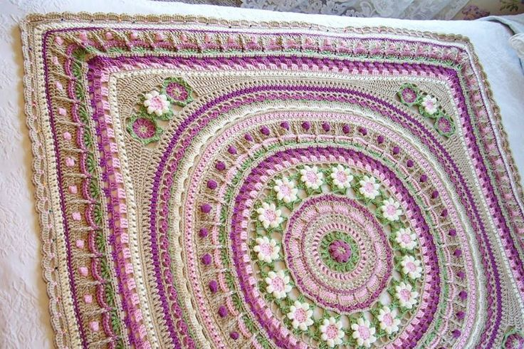 From the granny stitches on I followed the pattern (adjusting for turning at the corners) until the scalloped row which I thought was a lovely edge. The finished afghan is about 4ft x 4ft.