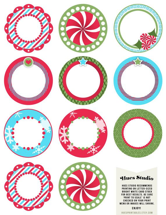 Printable Christmas Party Circles - perfect Gift Tags, Cupcake Toppers, Wine Bottle Tags, Napkin Rings, Labels, Stickers and more!  #christmas #peppermint #snowflake #heart #trendy #holly #green #red #blue #circles #tags #round #gift #tags #cupcake #toppers #wine #bottle #tag #napkin #rings #labels #stickers #kids #holiday #party #diy #treat #dessert #decor #decoration